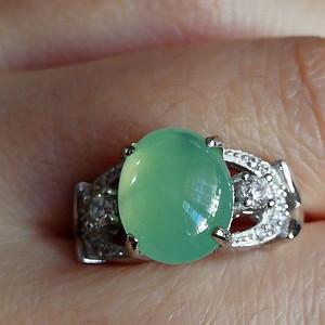 珠宝缅甸天然翡翠925银镶嵌满绿戒指