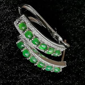 珠宝缅甸天然翡翠A货辣绿气质耳环