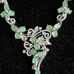 珠宝缅甸天然翡翠A货925银镶嵌满绿豪华项链