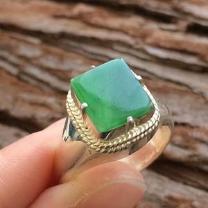 天然A货翡翠水润冰透满绿戒面铜镶戒指XP24