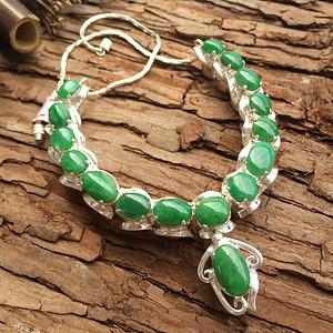 天然A货翡翠水润冰透满绿铜镶蛋面项链XP62