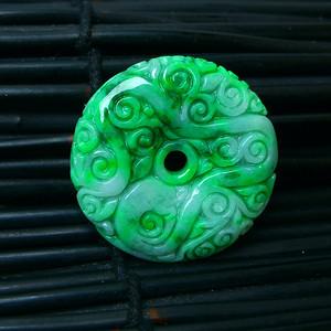 冰润满绿精雕平安扣吊坠