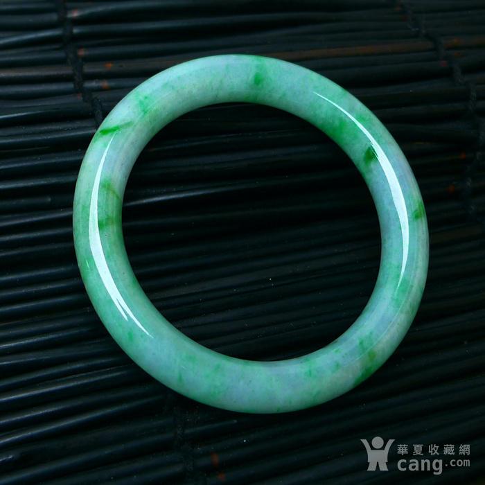 冰润飘绿圆条手镯图8