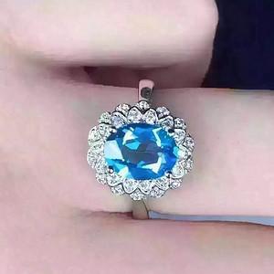 联盟 天然托帕石蓝宝戒指 活口
