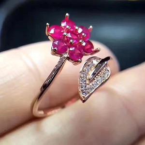 联盟 天然红宝石戒指 花瓣款 活口