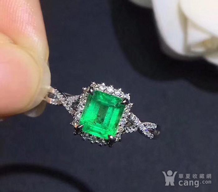 联盟 925纯银镶嵌天然祖母绿宝石戒指 活口图2