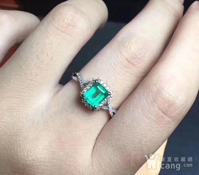 联盟 925纯银镶嵌天然祖母绿宝石戒指 活口图6
