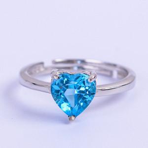 联盟 925纯银镶嵌天然托帕石蓝宝戒指 活口