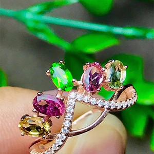 联盟 天然碧玺宝石戒指水透纯净