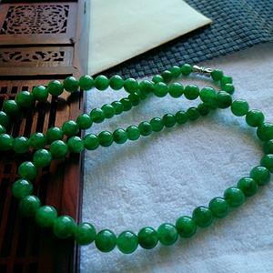 珠宝联盟 精品缅甸A货翡翠老坑满绿项链