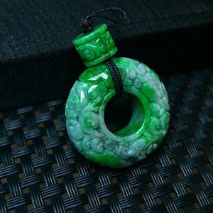 冰润满绿精雕百花齐放平安扣吊坠