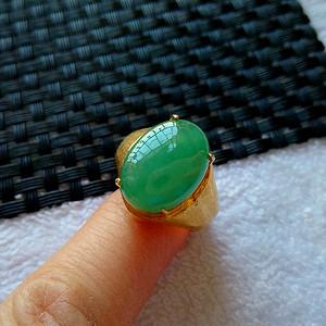 珠宝联盟 老坑A货翡翠满绿镶铜戒指