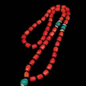 日本阿卡珊瑚六棱珠项链