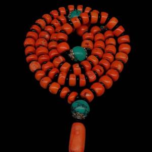 台湾老陌陌珊瑚算珠项链