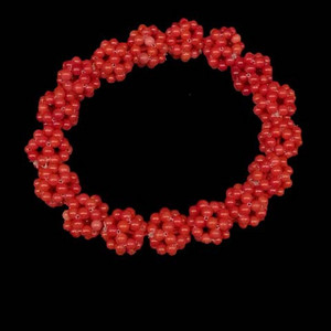 意大利沙丁珊瑚米珠手工穿镂空球手链
