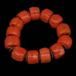 早期收藏台湾老陌陌珊瑚南瓜珠手链