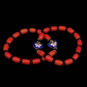 台湾陌陌珊瑚小桶珠配心心相印景泰蓝情侣手链