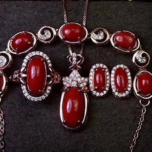 珠宝 纯天然珊瑚套装 支持复检