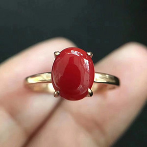 珠宝 纯天然珊瑚戒指