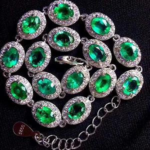 珠宝 天然哥伦比亚祖母绿手链