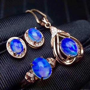 珠宝 纯天然超美欧泊三件套