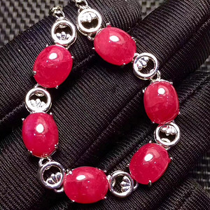 珠宝 精品天然缅甸素面红宝石手链