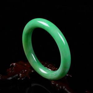 天然翡翠a货 冰润阳绿阳绿手镯收藏珍品
