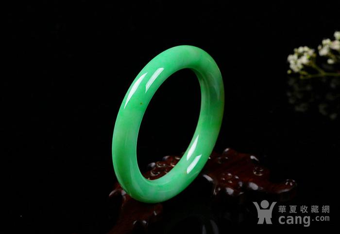 天然翡翠a货 冰润阳绿阳绿手镯收藏珍品图3