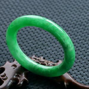 天然A货翡翠满阳绿圆条手镯