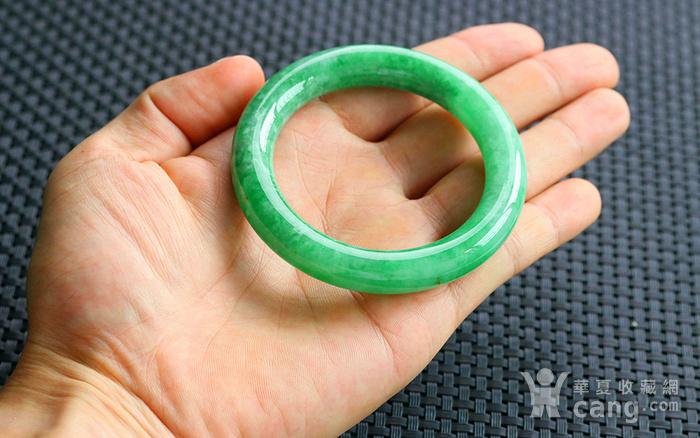 天然A货翡翠满阳绿圆条手镯图6