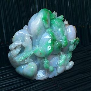 翡翠 冰润三彩山水风光摆件 0.60kg