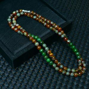 冰润双彩圆珠项链