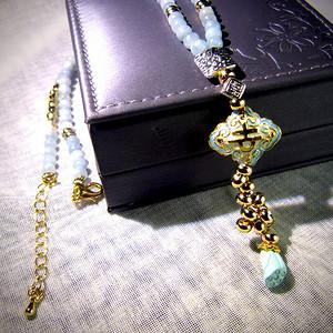 天然海蓝宝蓝松石毛衣链项链