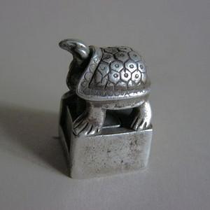 老银长寿龟子母套印章