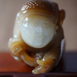 和田一级糖白玉巧雕招财童子  带和田玉国检证书