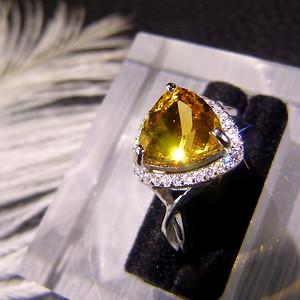 天然巴西黄水晶戒指