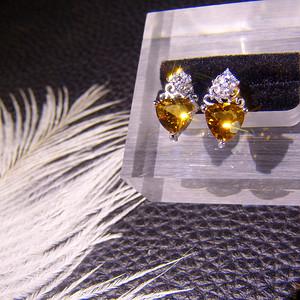 巴西天然黄水晶耳钉