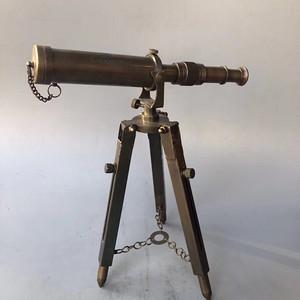 欧洲回流精工老货臻品三足架铜望远镜摆件