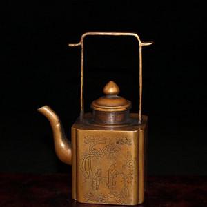 民国时期人物故事黄铜提梁壶