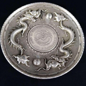 藏传藏银浮雕双龙图镶银元盘