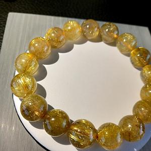 天然大颗钛金发丝水晶手链