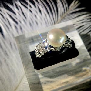 天然珍珠纯银镀白金戒指