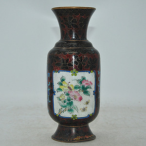 解放前后景泰蓝花瓶有残