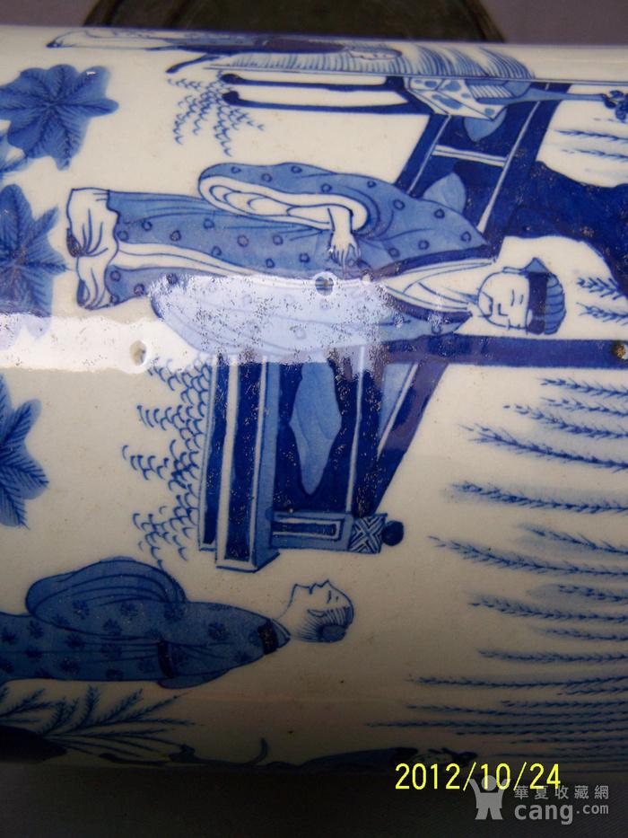 联盟  青花山水人物纹笔筒图10