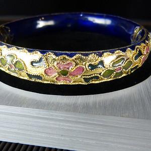 绝版80年代铜胎金地掐金丝景泰蓝正品老北京收藏版手镯
