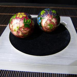 绝版80年代景泰蓝正品老北京收藏版银球一对