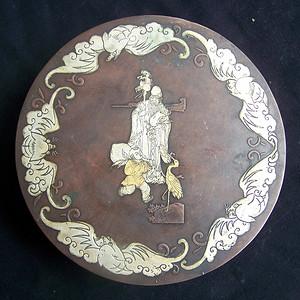 联盟 民国年制款铜鎏银五福捧寿大圆墨盒