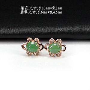 满绿翡翠耳饰 银镶嵌2903
