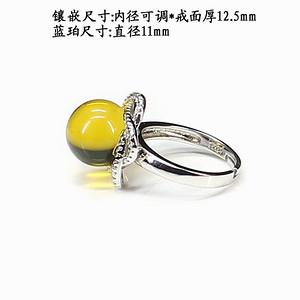 天然蓝珀戒指 银镶嵌4177
