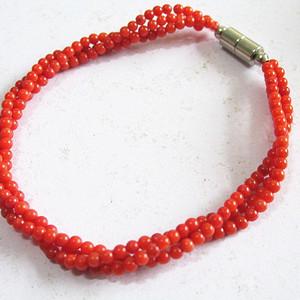 天然 红珊瑚 三层 时尚 手链